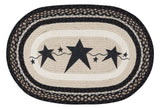 "Black Primitive Stars 20""x30"" Oval Braided Jute Rug 65-313PSB"