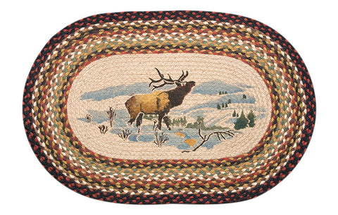 "Winter Elk Oval Braided Jute 20""x30"" Rug 65-319WE"