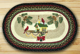 "Christmas Birdhouse 20""x30"" Oval Braided Jute Rug 65-338CBH"