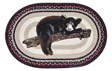 "Bear Cub on Tree Branch 20""x30"" Oval Braided Jute Rug 65-344BB"