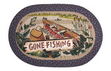 "Gone Fishing 20""x30"" Oval Braided Jute Rug 65-355GF"