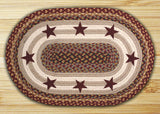 "Burgundy Stars II 20""x30"" Oval Braided Jute Rug 65-357BS"