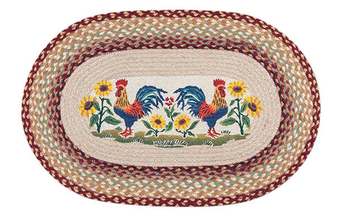 "Country Morning Roosters Oval Braided Jute 20""x30"" Rug 65-357CM"