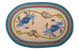 "Blue Crabs 20""x30"" Oval Braided Jute Rug 65-359BC"
