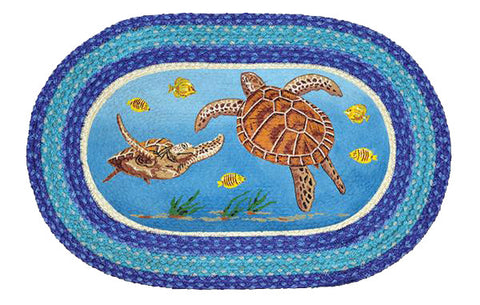 "Sea Turtle Oval Braided Jute 20""x30"" Rug 65-384ST"