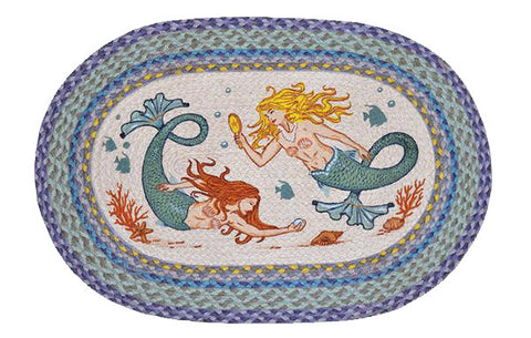 "Mermaids Oval Braided Jute 20""x30"" Rug 65-386M"