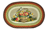 "Chickadee Birds & Apple Basket 20""x30"" Oval Braided Jute Rug 65-426A"