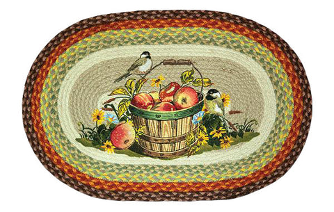 "Chickadee Birds & Apple Basket Oval Braided Jute 20""x30"" Rug 65-426A"
