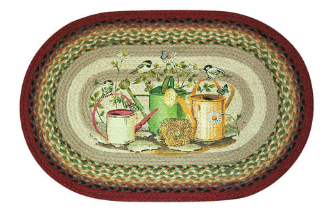 "Chickadee Birds on Watering Cans Oval Braided Jute 20""x30"" Rug 65-428CB"