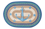 "Anchor and Stars 20""x30"" Oval Braided Jute Rug 65-433AS"