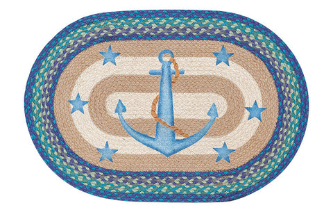 "Anchor and Stars Oval Braided Jute 20""x30"" Rug 65-433AS"