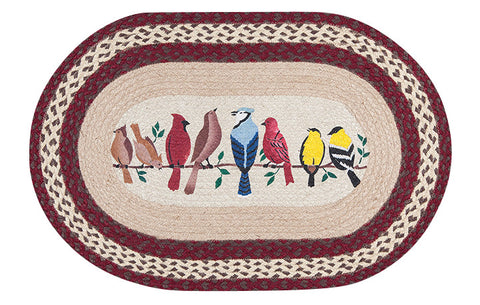 "Birds on a Branch 20""x30"" Oval Braided Jute Rug 65-501BW"