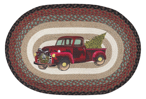 "Christmas Truck 20""x30"" Oval Braided Jute Rug 65-530CT"