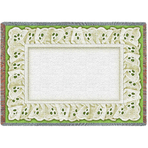 Eyelet on Apple Green Art Tapestry Mini Throw