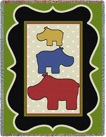 Hippos I Art Tapestry Throw