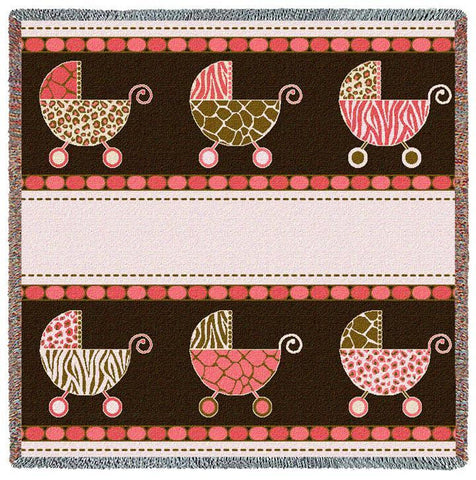 Baby Prams Art Tapestry Lap Throw, Pink/Brown/Cream
