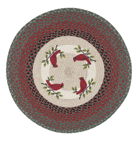 "Red Cardinal on Holly Branch 27"" Round Braided Jute Rug 66-025HCA"