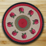 "Red Apples 27"" Round Braided Jute Rug 66-238A"