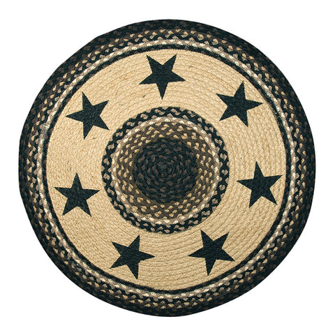 "Black Stars III 27"" Round Braided Jute Rug 66-313BS"