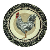 "Black and White Rooster 27"" Round Braided Jute Rug 66-430R"