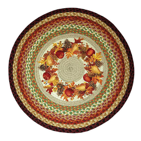 "Autumn Wreath 27"" Round Braided Jute Rug 66-431AW"