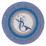 "Blue Mermaid 27"" Round Braided Jute Rug 66-527BM"