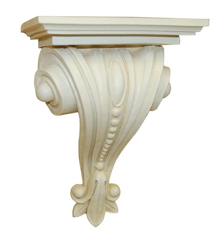 Classical Scrolled and Beaded Bracket Wall Shelf, Provincial Color Finish