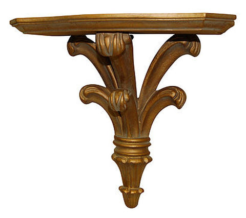 Classical Bracket Wall Shelf, Antique Gold Finish