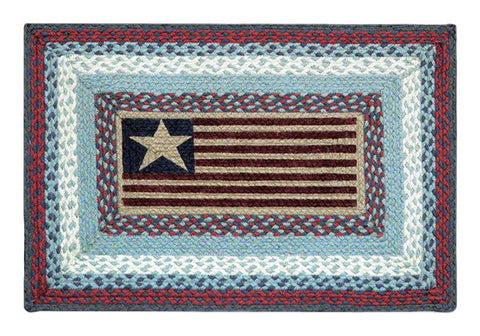 "American Flag 20""x30"" Rectangle Braided Jute Rug 67-015F"