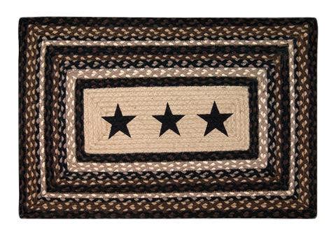 "Black Stars III 20""x30"" Rectangle Braided Jute Rug 67-313BS"