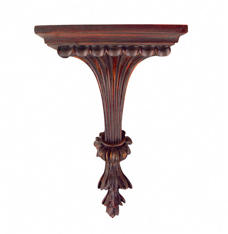 Fluted Leaf Bracket Wall Shelf, Brandywine Color Finish