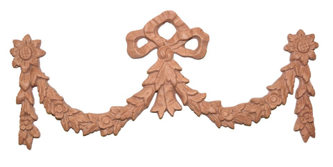 Bow and Floral Swag Over-the-Door Wall Decor in Terra Cotta Finish