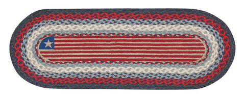 Patriotic Flag Oval Braided Jute Table Runner, Available in 2 Sizes