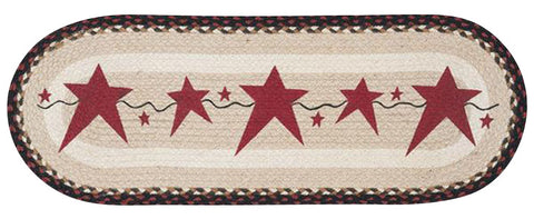 Burgundy Primitive Stars Oval Braided Jute Table Runner in 2 Sizes