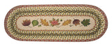 Autumn Leaves Oval Braided Jute Table Runner, Available in 2 Sizes