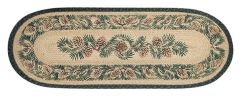 Pinecones Oval Braided Jute Table Runner, Available in 2 Sizes