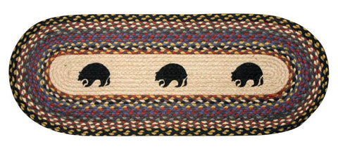 "Black Bears Oval Braided Jute Table 13""x36"" Runner 68-043BB"