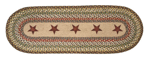 "Gold Stars Oval Braided Jute Table 13""x36"" Runner 68-051GS"