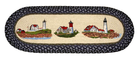 "Three Lighthouses Oval Braided Jute Table 13""x36"" Runner 68-251TLH"