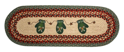 "Mittens 13""x36"" Oval Braided Jute Table Runner 68-252CC"