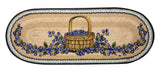 "Blueberries in Basket Oval Braided Jute Table 13""x36"" Runner 68-312BB"