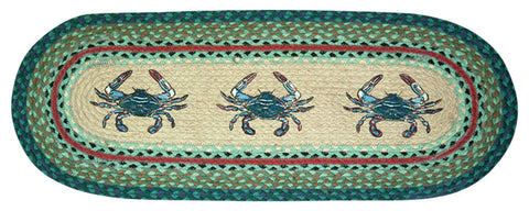 Blue Crabs Oval Braided Jute Table Runner, Available in 2 Sizes