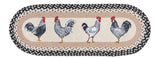 "Black and White Roosters 13""x36"" Oval Braided Jute Table Runner 68-430R"