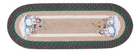 "Snowman and Birdhouse 13""x36"" Oval Braided Jute Table Runner 68-508BS"