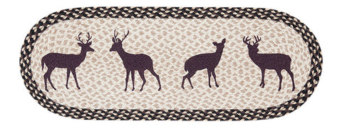 "Deer Silhouettes Oval Braided Jute Table 13""x36"" Runner 68-518DS"