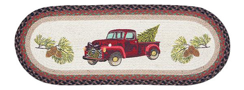 "Christmas Truck 13""x36"" Oval Braided Jute Table Runner 68-530CT"