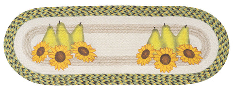 "Pears and Sunflowers 13""x36"" Oval Braided Jute Table Runner 68-9-120PS"