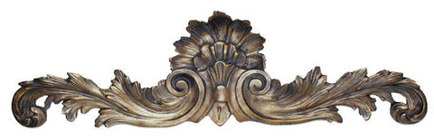Flared and Scrolled Acanthus Leaves Over the Door Wall Decor in Gold Wash Finish