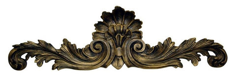 Flared and Scrolled Acanthus Leaves Over the Door Wall Decor in Tarnished Gold Finish