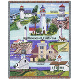 Lighthouses of California Art Tapestry Throw
